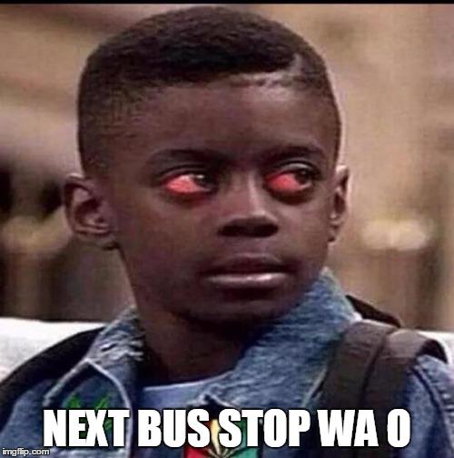 Red Eye kid next bus stop