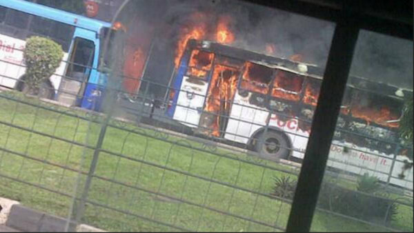 Burnt BRT bus