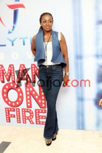 Kate Henshaw chose a flared bottom jeans and we love the fit.