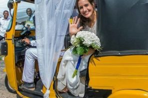 Nigerian Man and American bride wed with Keke Napep in Adamawa (photos)