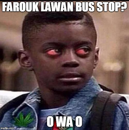 Red eye Farouk Lawan bus stop