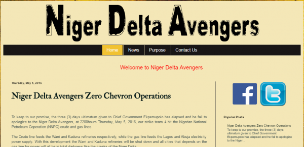 Niger Delta Avengers webpage
